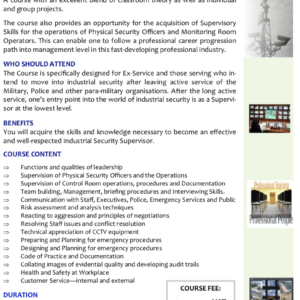 INDUSTRIAL SECURITY SUPERVISORY SKILLS for (EX-) SERVICE PERSONNEL RESETTLEMENT